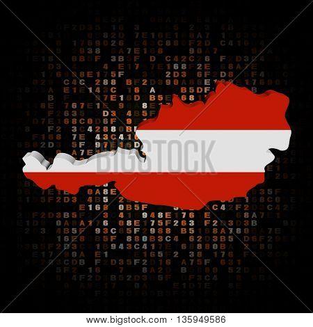 Austria map flag on hex code 3d illustration