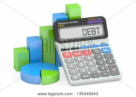 Debt concept 3D rendering isolated on white background