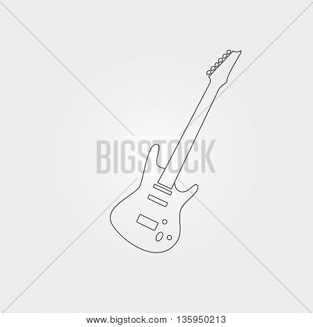 Silhouette of an electric bass guitar on white background