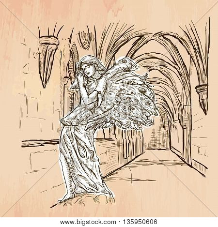 An hand drawn vector - ANGEL - colored line art. Vector is editable in groups and layers - freehand sketching.