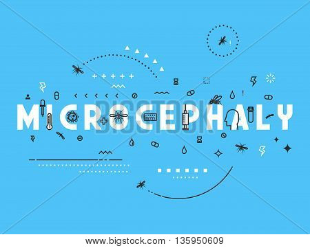 Design concept microcephaly. Modern line style illustration. Concepts of words microcephaly, style thin line art, design banners for website and mobile website. Easy to edit.