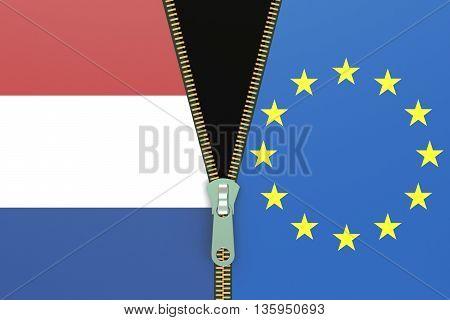 Netherlands and EU relation concept. Nexit referendum concept 3D rendering