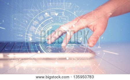 Keyboard touch with high tech user interface graphic