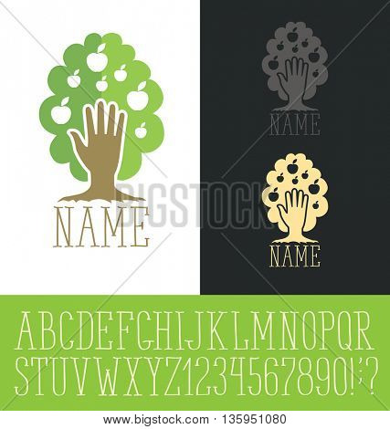 Vector logo with hand made font. Tree concept