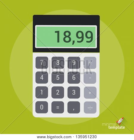 Calculator icon. Flat design vector business calculator mock up for application interface and web design. Online payment and online shopping, internet banking, mobile payment balance calculator  icon.