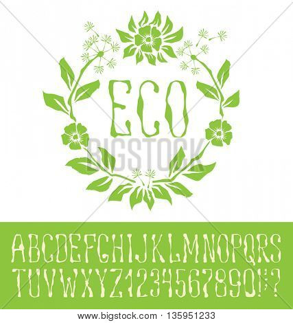 Vector logo with hand made font. With inscription Eco