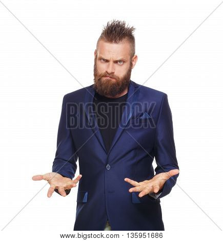 Young bearded man isolated at white background. Portrait of guy with beard disappointed, upset, frustrated, annoyed, looking at camera.