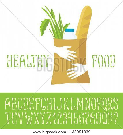 Vector logo with hand made font. Healthy food