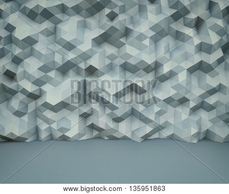Abstract polygon wall 3D background with vintage color scheme. Architectural crumpled wall surface backdrop. 3D rendering.