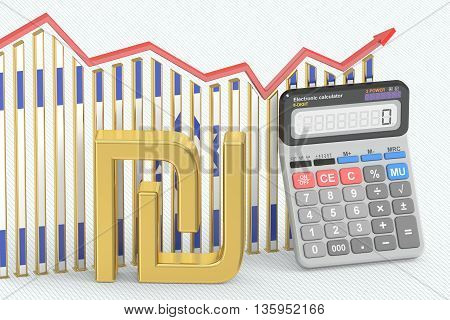 Business finance banking and accounting chart with symbol of Israel shekel and calculator. 3D rendering
