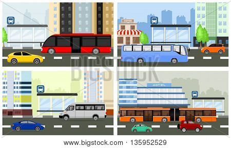 Vector bus stops. View of modern street with a bus on the road