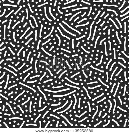 Vector Seamless Black and White Wavy Organic Imprint Pattern. Abstract Rounded Shapes Foam Pattern Background