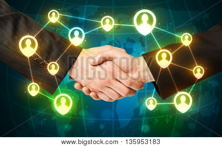 Business handshake, social netwok concept