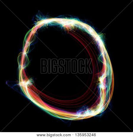 Digitally created letter formed out of plasma energy.