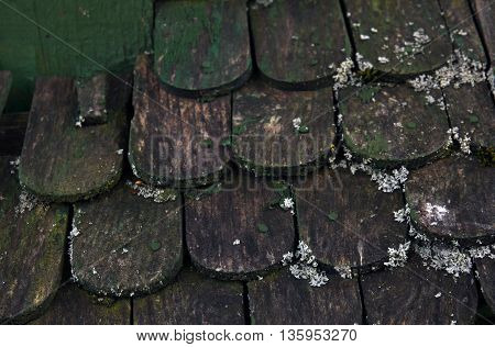 A roof of an old wooden house.