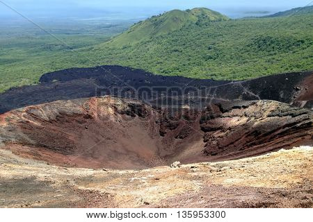 Crater of an active volcano Cerro Negro near the city of Leon in Nicaragua
