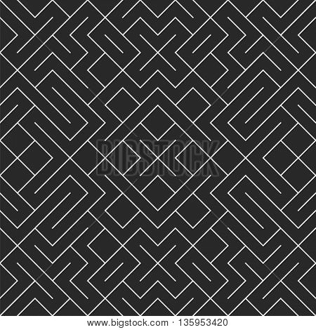 Vector seamless black and white irregular geometric shape pattern