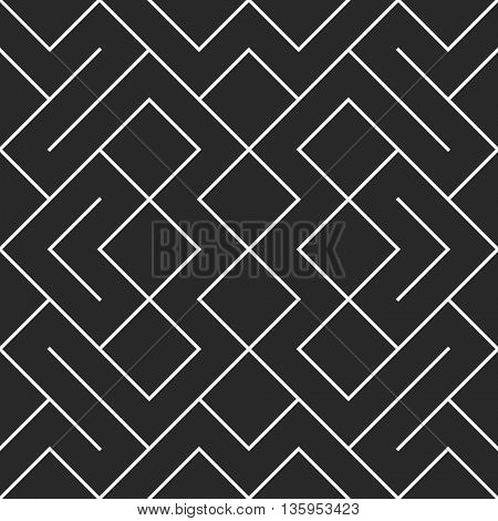 Seamless vector mesh pattern. Ethnic vector textured background. Zig zag maze straight lines pattern tile.