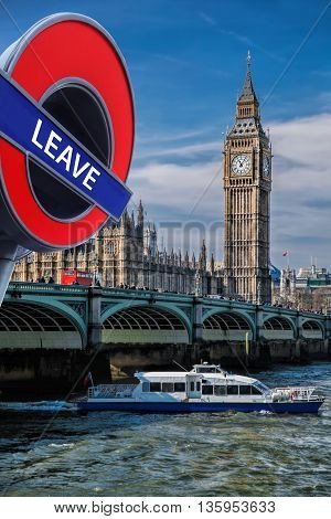 Britain Votes To Leave European Union,big Ben With Cruise Ship In London, England, Uk