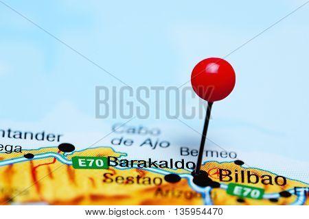 Barakaldo pinned on a map of Spain