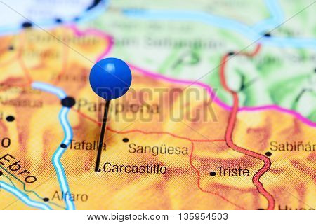 Carcastillo pinned on a map of Spain