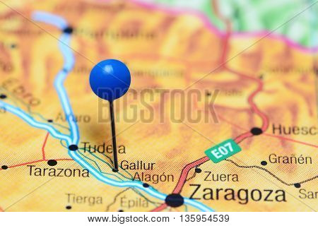 Gallur pinned on a map of Spain