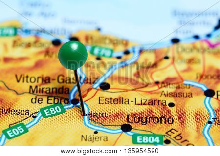 Haro pinned on a map of Spain