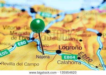 Najera pinned on a map of Spain