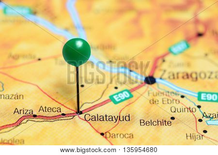 Calatayud pinned on a map of Spain