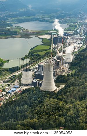 Aerial photography of coal plant in Sostanj Velenje
