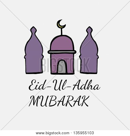 Eid Mubarak lettering with abstract mosque on the white background