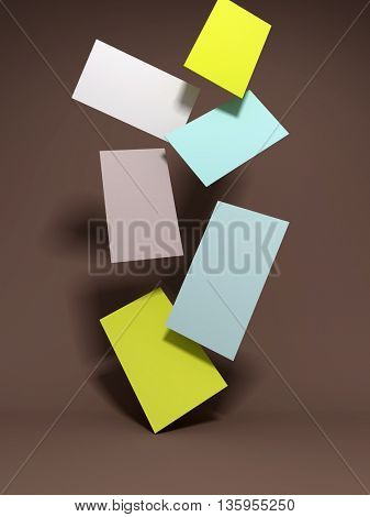 Business card falling on brown background. 3D illustration.