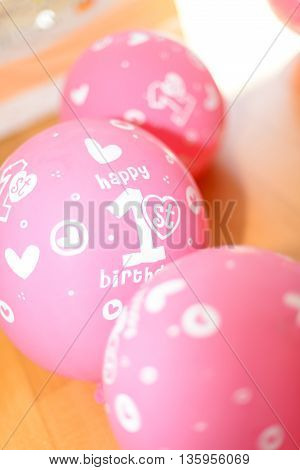 Happy Birthday Baloons 1st birtdays pink white inscription
