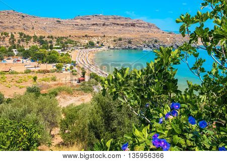 Elevated view of Lindos Bay. Lindos Rhodes Dodecanese Islands Greece Europe