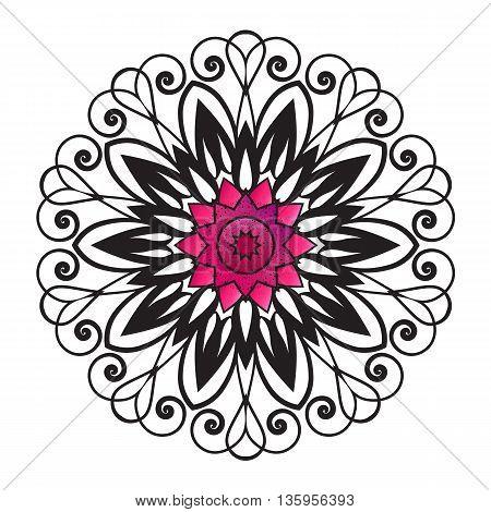 Vector floral ornament pattern, beautiful decorative flower