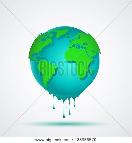 Vector illustration world blue globe with green continents falling water