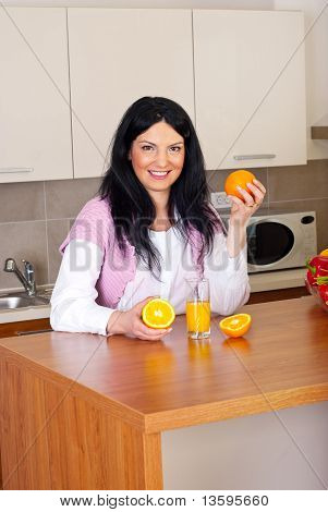 Happy Woman With Fresh Orange Juice