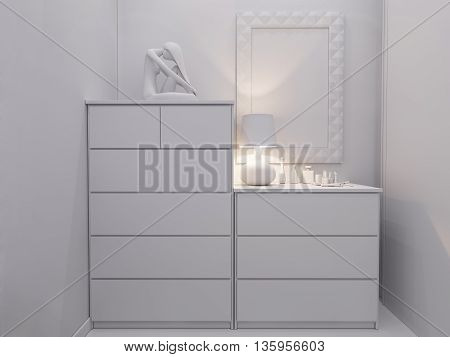 3D Rendering  Bedroom Interior Design.