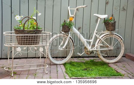 Gardening is the composition of the basket with flowers and bicycle