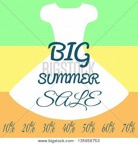 Layout poster silhouette dress inscription Big Summer Sale. The number the percent sign. Color background: green yellow orange. Template. Abstract.
