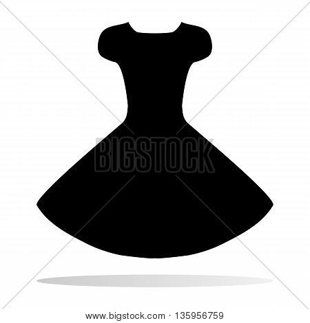 Silhouette of a black dress with a fluffy skirt. Feminine style on the thin figure. Crusts sleeve. The isolated image on a white background.