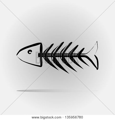 Stylized fish skeleton painted with a brush. Abstract image. Isolated.