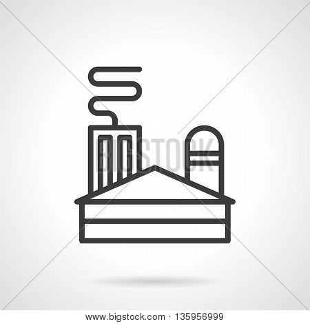 Coal power plant or factory. Industry of non-renewable energy sources concept. Industrial facilities and buildings. Simple black line style icons.
