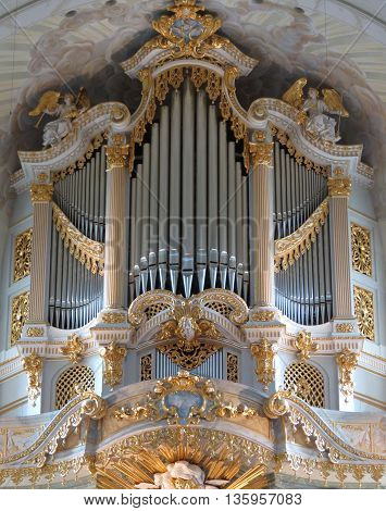 DRESDEN GERMANY - CIRCA MARCH 2016: pipe organ replica in the Fraukirche (Saint Mary church) the original Silbermann organ being destroyed in 1945