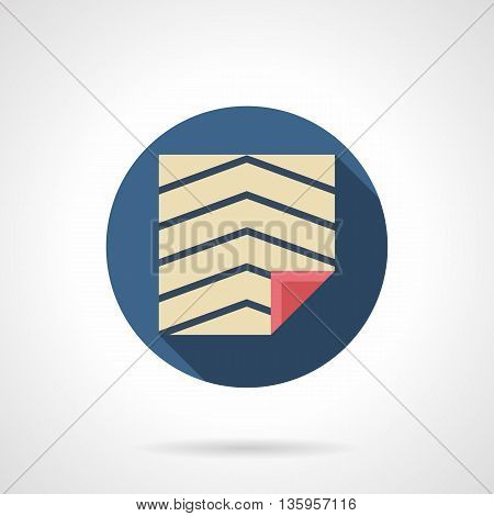 Floor coverings and cladding. Sheet of natural linoleum with blue lines pattern. Materials for repair, renovation, construction. Round flat color style vector icon.