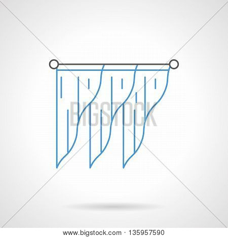 Stylish interior design with triangle shaped blue curtains or lambrequin on black cornice bar. Modern drapes for interior design. Flat line style vector icon.