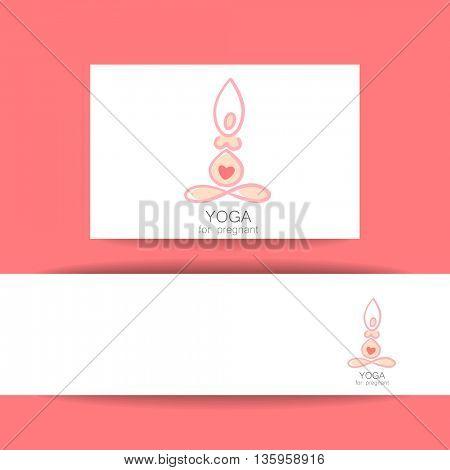 Concept identity presentation for Yoga studio and classes for pregnant women. Vector graphic illustration.