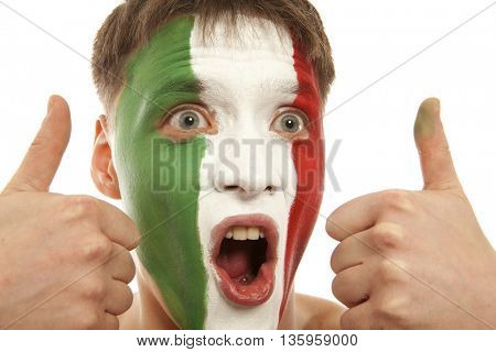 Italian fans at the stadium. Football, soccer fan. Isolated on white background