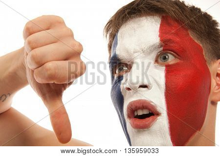 French fans at the stadium. Football, soccer fan. Isolated on white background