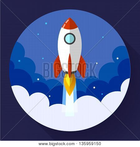 Startup illustration. Rocket in the clouds. Flat design style